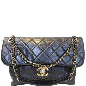 CHANEL URBAN MIX FLAP CALFSKIN PYTHON SHOULDER BAG